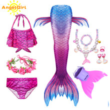 AngelGirl 2020 Mermaid kuyruk kız elbise renkli prenses çocuk kostüm Cosplay doğum günü partisi Mermaid kuyruk Bikini mayo