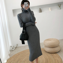 Women Autumn Winter Sweater Knitted Dresses Slim Elastic Tur