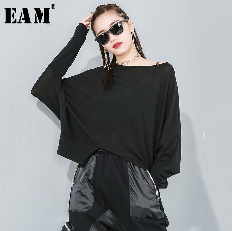 [EAM] Women Gray Asymmetrical Split Big Size Loose T-shirt New Round Neck Long Sleeve  Fashion Tide  Spring Autumn 2020 1R168