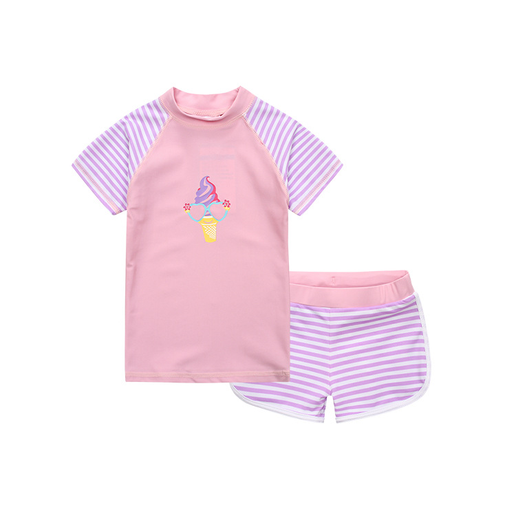 Asian Tassel Card 2-8-Year-Old Short Sleeve Shorts Girls' Two-piece Swimsuit Swimming Trunks Beach Play With Water-