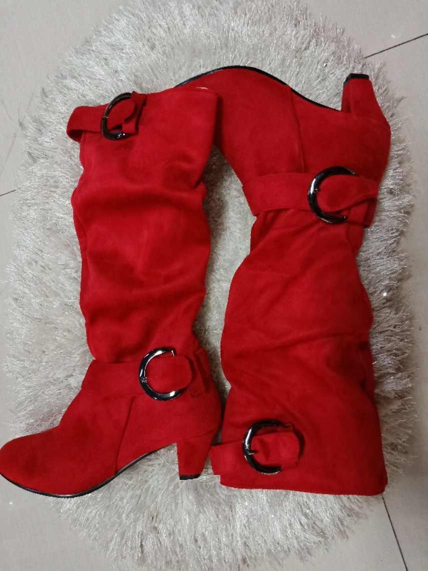 Lasyarrow grande taille 43 2019 genou bottes hautes femmes automne Faux daim boucle mode talons chaussures femme hiver offre spéciale