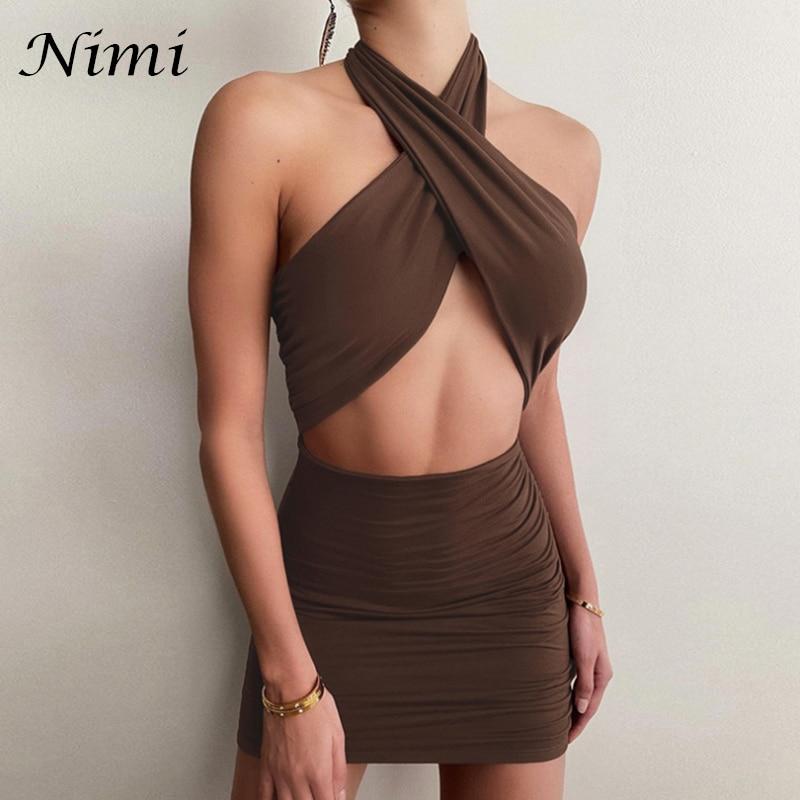 NiMi Лето женское сексуальное открытое платье с лямкой на шее, накрест, облегающий, Платья вечерние модные тонкие 2021The Новый мини-платье без ру...
