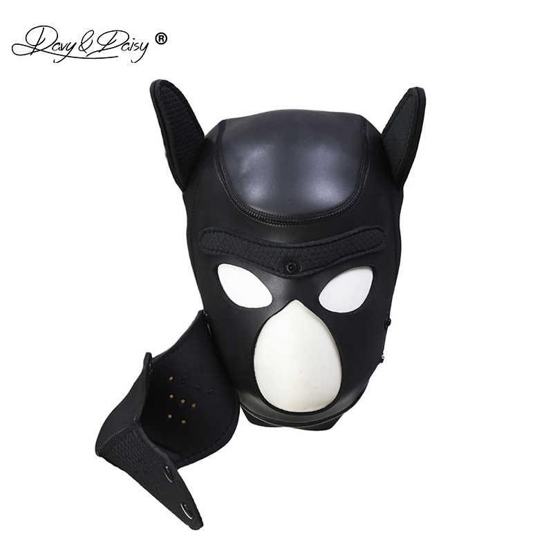4 Buah Set Pesta Masker Anak Bermain Anjing Hood Masker Kerah Harness Dada Lengan Band Peran Bermain Headmask Cosplay untuk beberapa BDSM AC131
