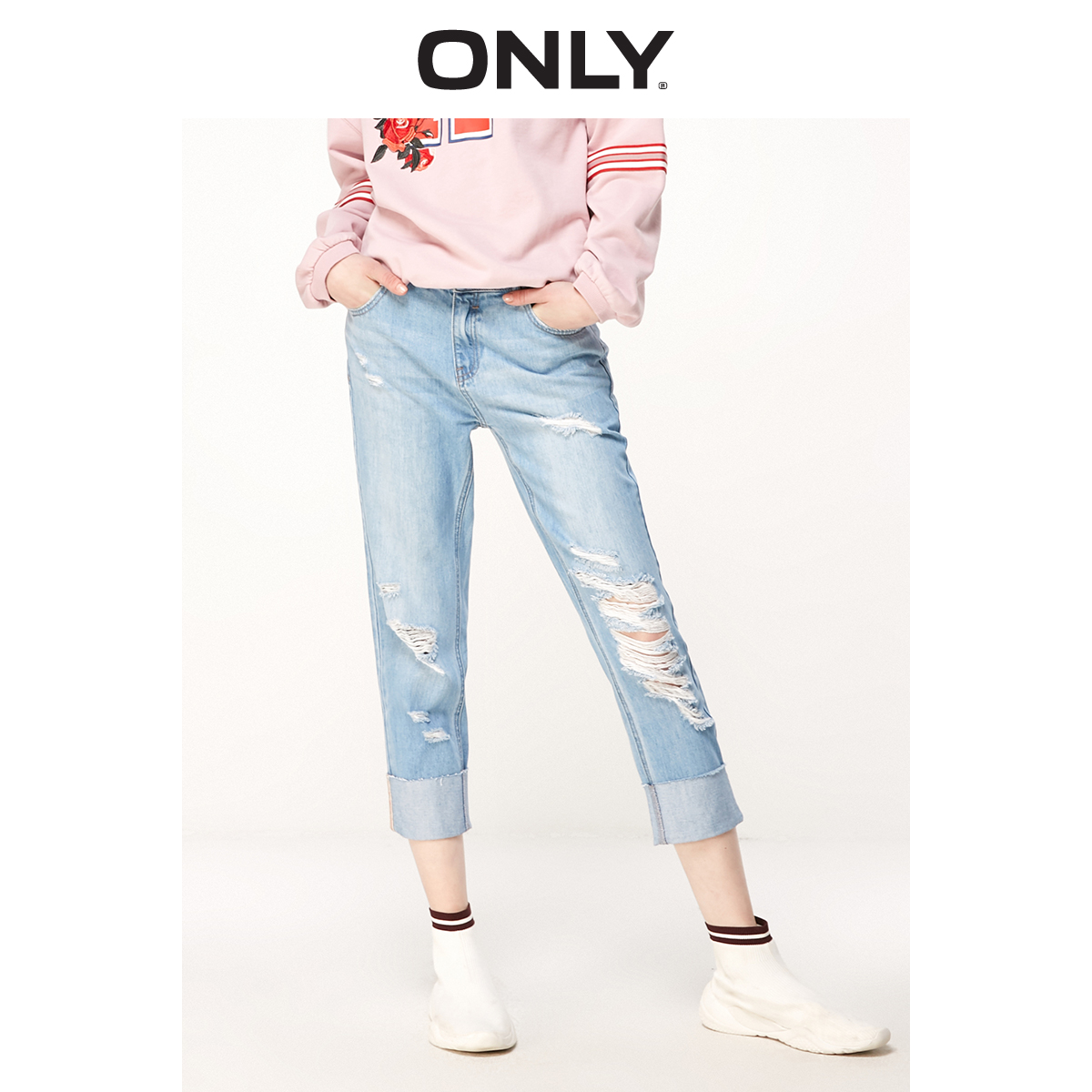 ONLY Women's Loose Straight Fit Low-rise Ripped Crop Jeans | 119149545