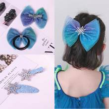 1PC Christmas Girls Blue Sequin Bow Hair Clips Snowflake Shinny Baby Glitter Scrunchies Kids Hairpins Children Hair Rope Bands(China)