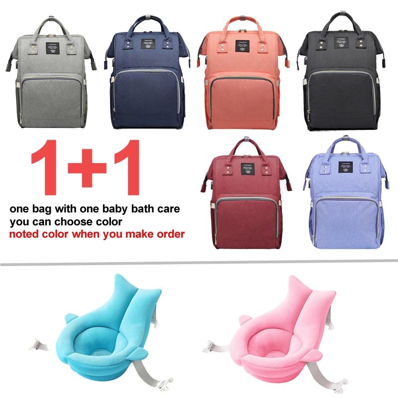 Sac à couches chargeur USB 1 + 1 | Grands sacs à dos d'allaitement pour momie, sac à couches avec 1 pièces, tapis de baignoire pour réception-cadeaux pour bébé