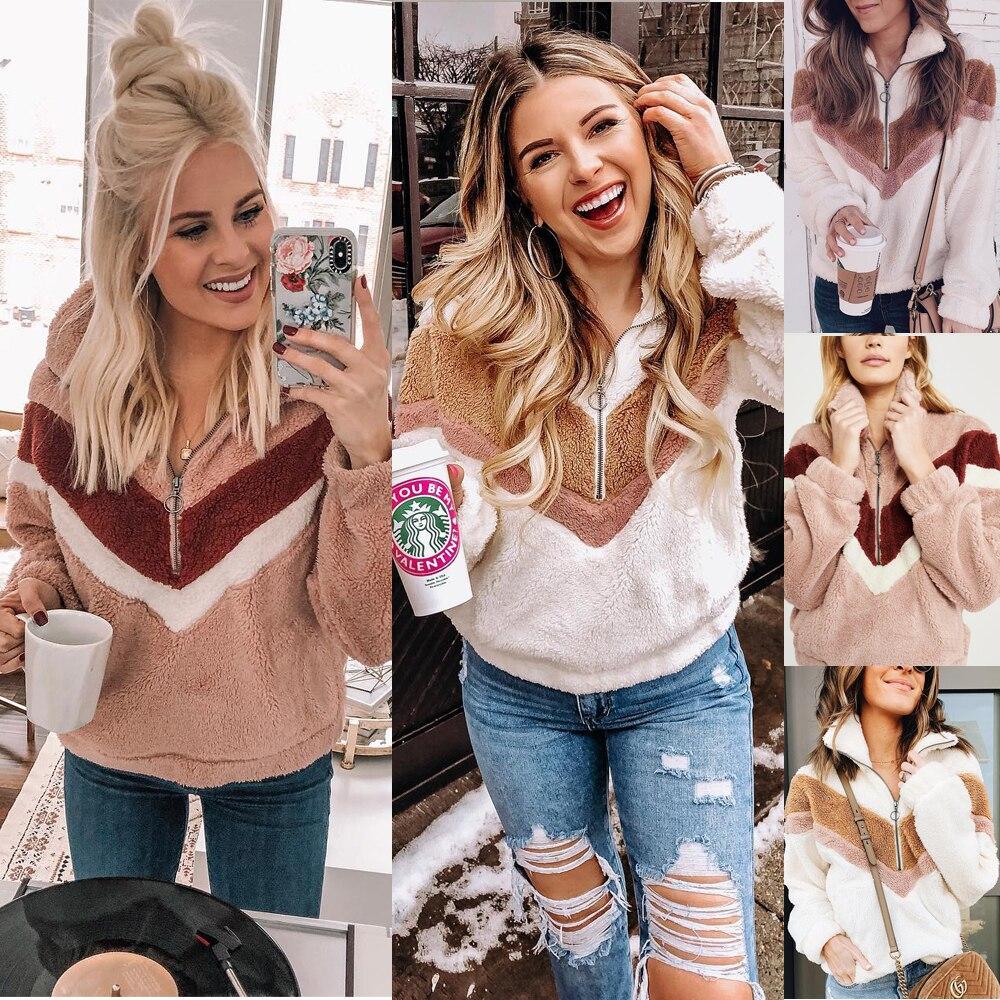 H1ef6d9be58c34e7e86b00f53327ac5f8g New Style Women Warm Teddy Bear Fleece Pullover Coat Zip Outwear Overcoat Long Sleeve Jumper Top Pullover Winter Warm Soft Coat