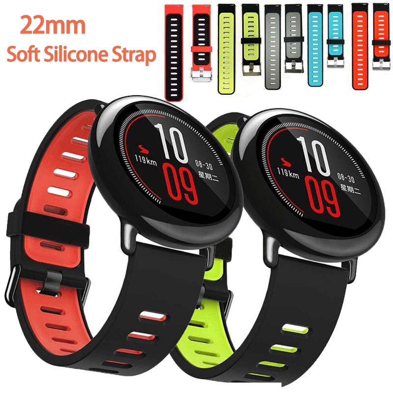 22mm For Amazfit Pace Strap Samsung Galaxy Gear S3 Band Universal Silicone Watch Band Double-color Strap  Smart Watch