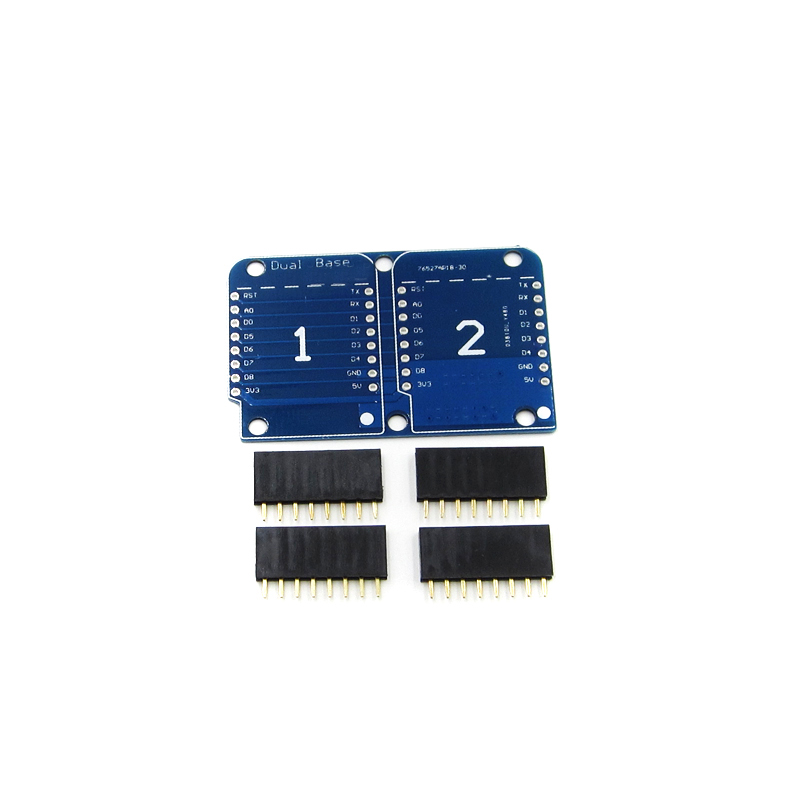 10 PCS For Wemos D1 Double Socket Dual Base Shield D1 Mini NodeMCU ESP8266 Development Base Board 3.3V With Pins image