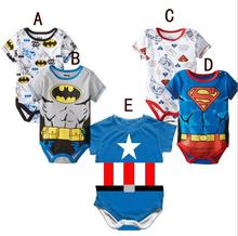 2019 Summer Newborn Baby Girls Clothes Cartoon Baby Boys Rompers Spiderman Batman Unisex Baby Rompers Clothing Set Outfits 0-24M cheap ROMIRUS Polyester COTTON Animal Single Breasted Short O-Neck 100 cotton