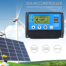 10A/20A/30A Auto Solar Charge Controller Lithium PWM Controllers LCD Dual USB Output Solar Cell Panel PV Regulator pwm 10a 20a 30a solar charge controller 12v 24v auto with lcd display usb output solar cell panel regulator pv home solar system