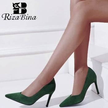 RIZABINA Women High Heels Shoes Real Leather Office Ladies Pumps Sexy Pointed Toe Dance Party Wedding Footwear Size 34-39