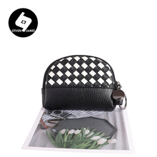 STIVEN JAMES Leather Coin Purse Key Chain Hand Woven Rich Texture PU Wallet Women Black White Patchwork Women Small Change Purse