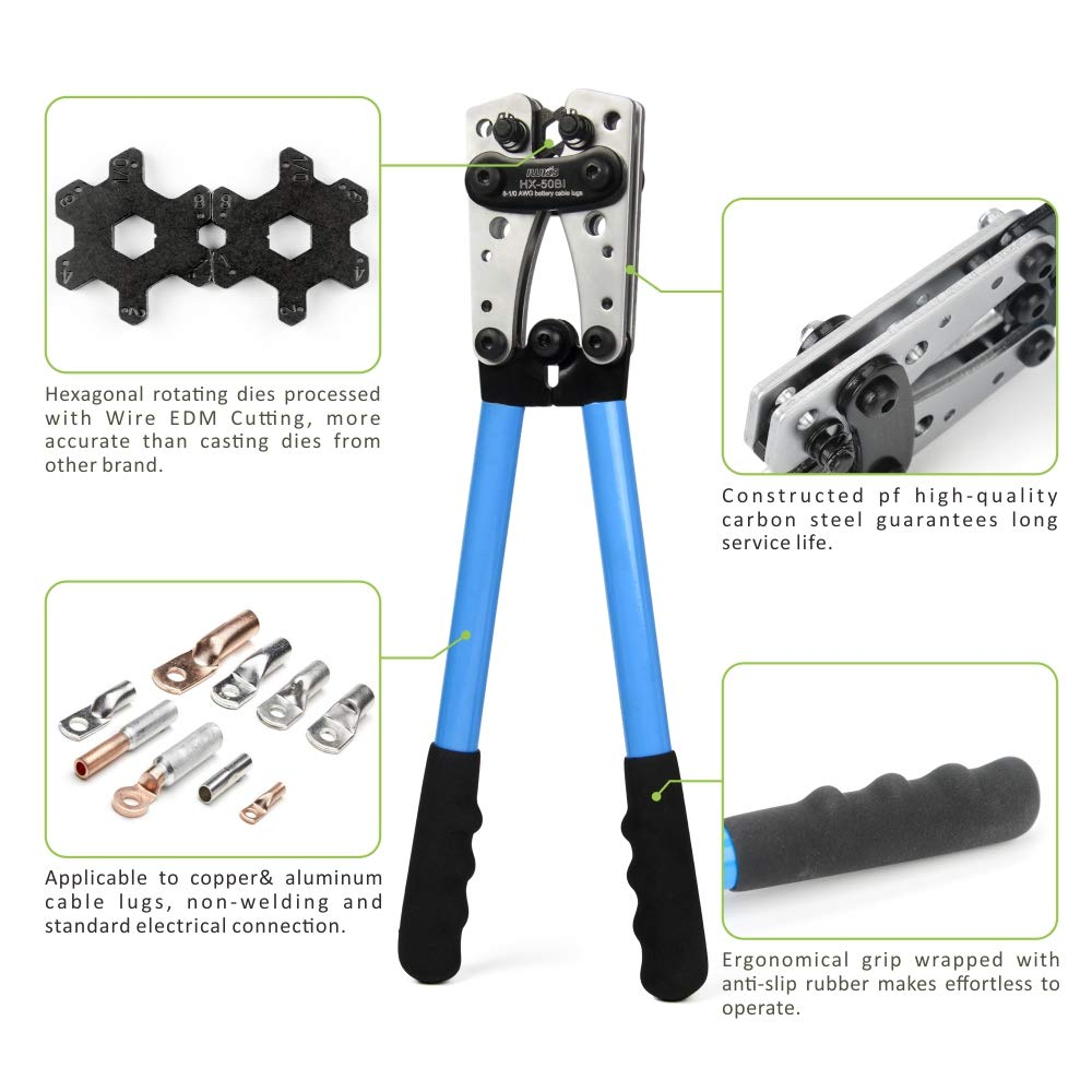 Cable Lug Crimping Tool for Wire Lugs,Battery Terminal,Copper Lugs AWG 8-1//0