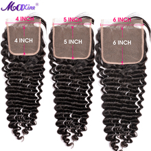 Lace Closure Human-Hair-Extension Maxine Deep-Wave Brazilian 4x4 Swiss 6x6