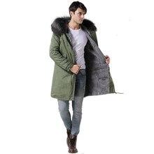 Итальянский дизайн, зимняя длинная Стильная верхняя одежда, теплое мужское серое меховое серое пальто с воротником из натурального меха енота, Мужская меховая парка с капюшоном