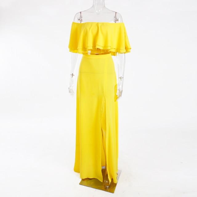 Été volants plage robe Maxi rembourré Slash cou épaules nues jaune longue robe en mousseline de soie évider jambe fendue avant