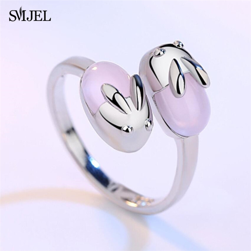 SMJEL Cute Retro Little Rabbit Ring Baby Pet lovely Animal Bunny Rabbit Ring Open Gift Jewelry for Girls Silver Ringen Female