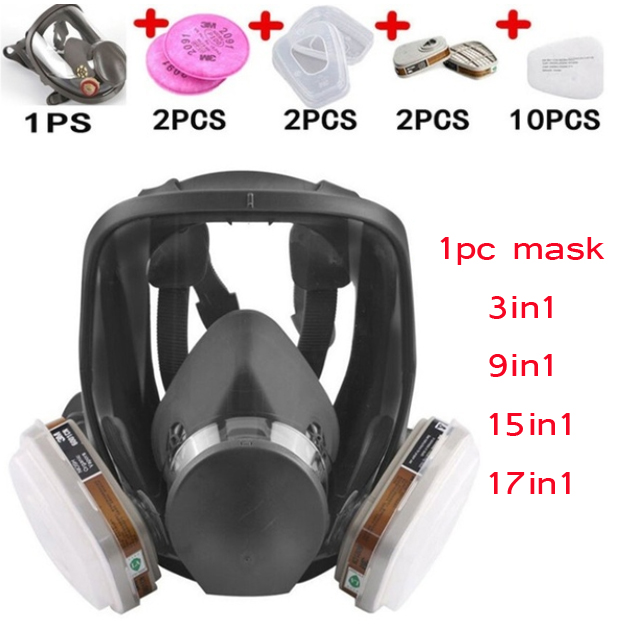 Protection 3/15/17 In 1 Safety Respirator Gas Mask same For <font><b>6800</b></font> Gas Mask Painting Spraying Full Face Facepiece Respirator image