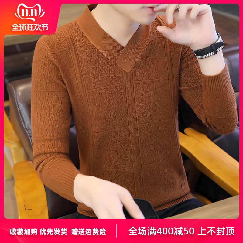 In The Spring Of 2020 Men New V-neck Sweater Teen Fashion Pure Color Render Sweater