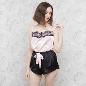 Image 5 - Suphis çiçek dantel pembe Cami pijama takımı kadınlar siyah kısa seti 2020 yaz rahat gecelikler bayanlar seksi saten pijama