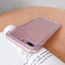 Dupla camada doces pára-choques transparente caso para iphone 11 12 pro max 7 8 plus se 2020 à prova de choque macio capa traseira para iphone x xs xr