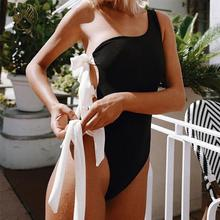 Peachtan Sexy One shoulder swimsuit female Knot push up swimwear women High cut bodysuits monokini Bathers bathing suit biquini