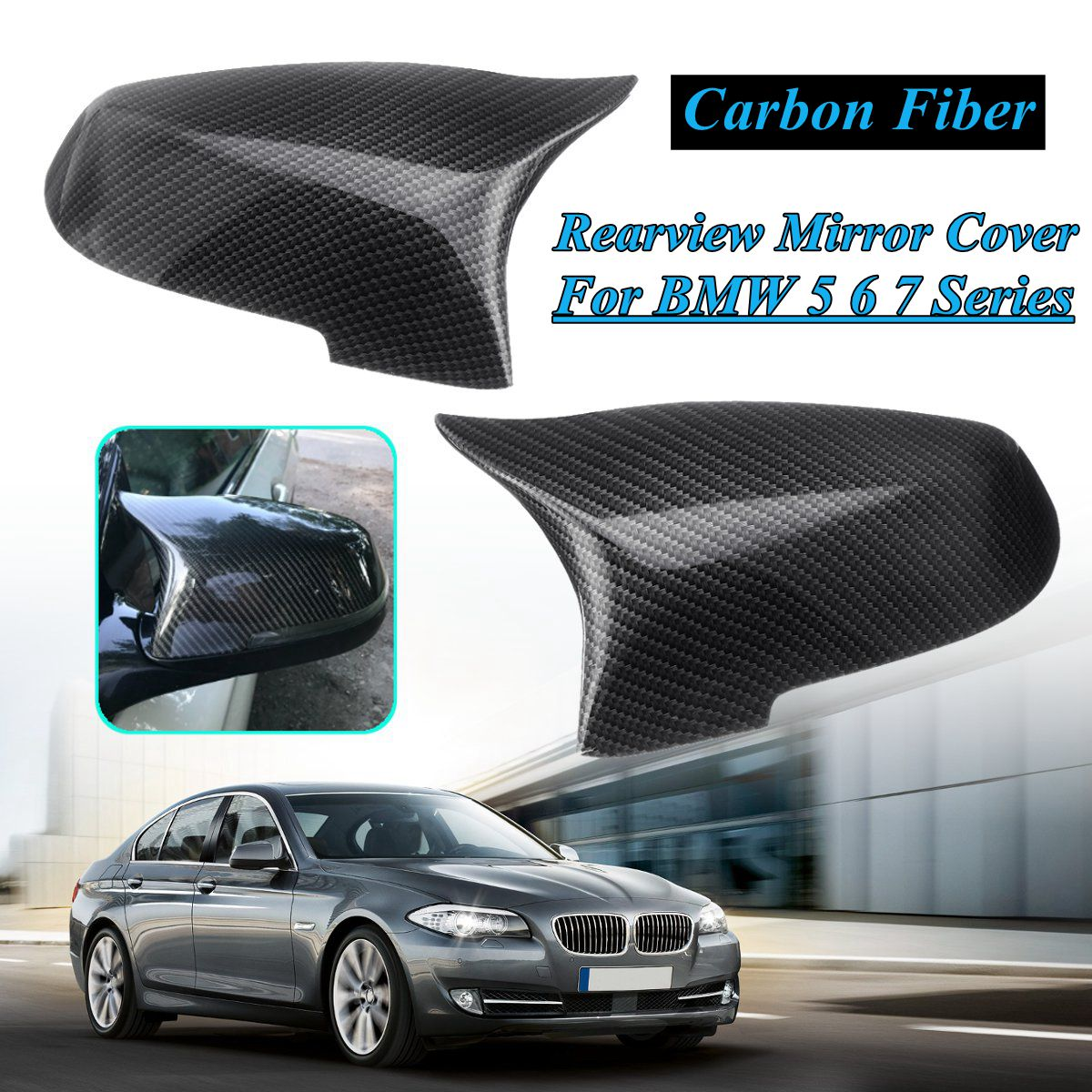 Pair Side Rearview Mirror Cover Cap For <font><b>Bmw</b></font> 5 6 7 Series F10 F18 <font><b>F11</b></font> F06 F07 F12 F13 F01 2014 <font><b>2015</b></font> 2016 Gloss black Carbo fiber image