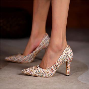 Buty designerskie damskie czółenka modne szpilki 10CM czarne różowe białe buty damskie buty ślubne damskie szpilki damskie obcasy 2021 tanie i dobre opinie Negroke podstawowe CN (pochodzenie) Tkanina z cekinami Z niewielkim szpicem 0-3 cm Super Wysokiej (8cm-up) Dobrze pasuje do rozmiaru wybierz swój normalny rozmiar