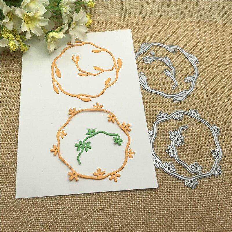 Flower Leaf Round Frame Metal Dies Scrapbooking Metal Cutting Dies Craft Stamps Die Cut Embossing Card Make Stencil Frame