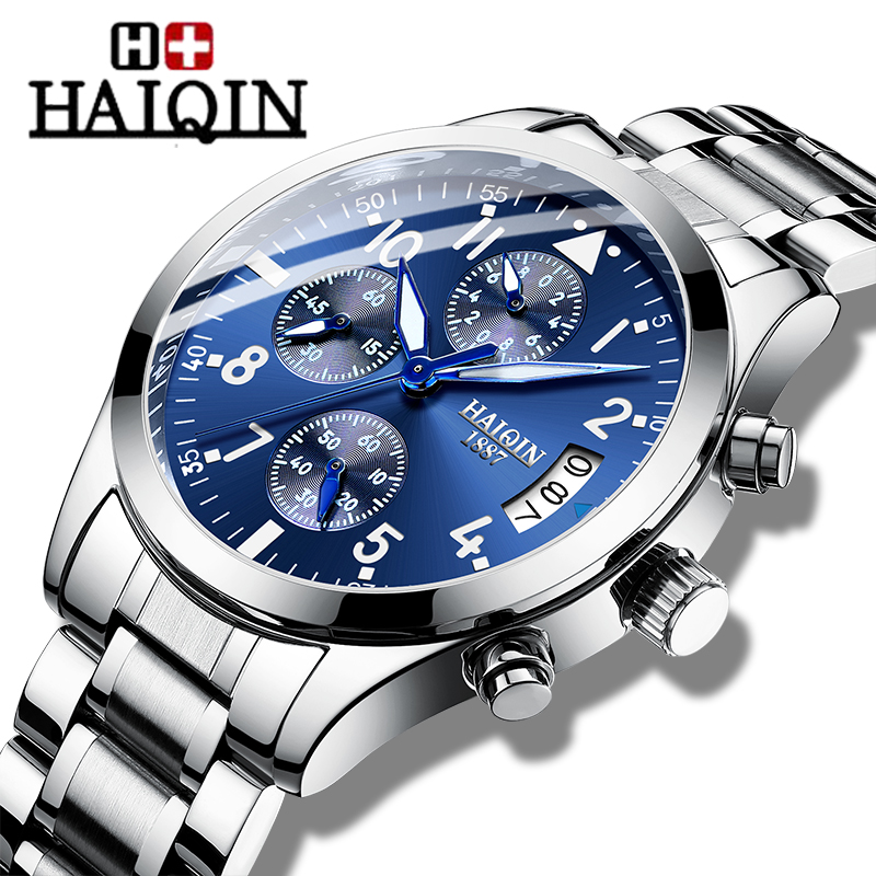 Top Luxury Brand Quartz Men's Watches HAIQIN Business Chronograph Men Waterproof Steel Wrist Watches Men Clock Relogio Masculino