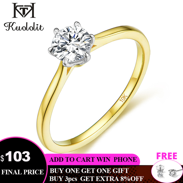 Kuololit Solid 10K Yellow gold Natural moissanite Rings for Women VVS D color Solitaire  set ring for anniversary wedding  585