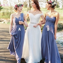 Blue Sleeveless Bridesmaid Dresses 2019 New Women A line Two Styles Backless Sweetheart Neck Chiffon Long Party Gowns