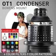 OT1 Bowens Mount – Condenseur optique conique pour les photos artistiques, effets spéciaux en forme de faisceau lumineux, cylindre avec objectif, couleur gel