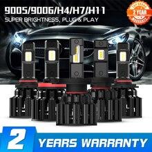 Novsight h4 led h7 h11 h8 hb4 hb3 carro farol lâmpadas 100w 20000lm estilo do carro 6000k led automotivo