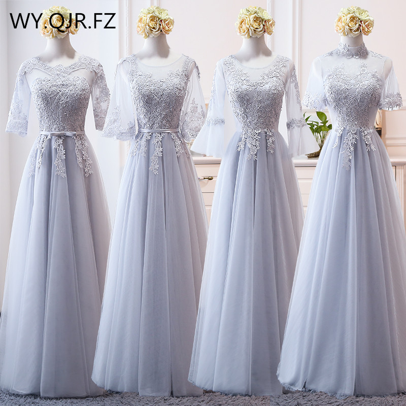 MNZ-9858H#Bridesmaid's Dress Medium Sleeve And Long-style New Winter Of 2019 Lace Up Gary Christmas Dresses Girls Wholesale