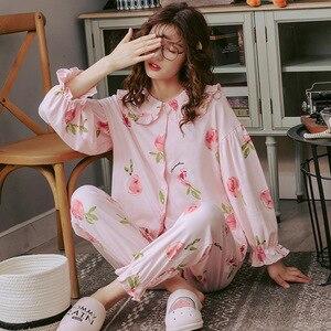 Image 5 - Ensemble pyjama automne hiver pour femme, deux pièces, chemise + pantalon, imprimé floral, vêtements de nuit doux rose, collection luxe, collection 2019