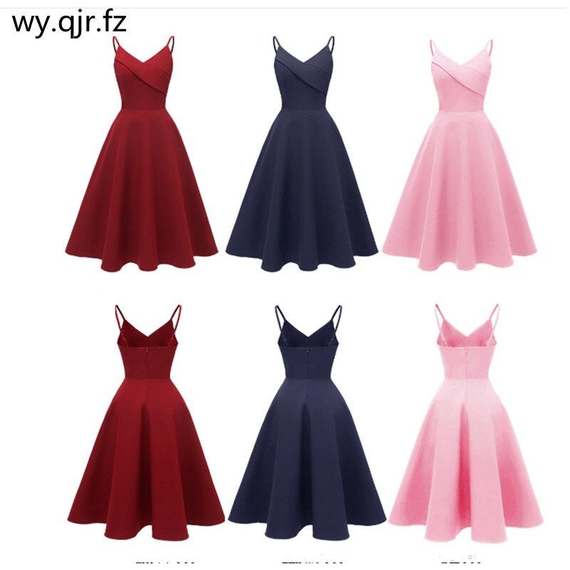 CD1702#Bridesmaid Dresses Sexy Wedding Prom Party Dress V-neck Sling BURGUNDY Dark Blue Pink Christmas Wholesale Girls Short