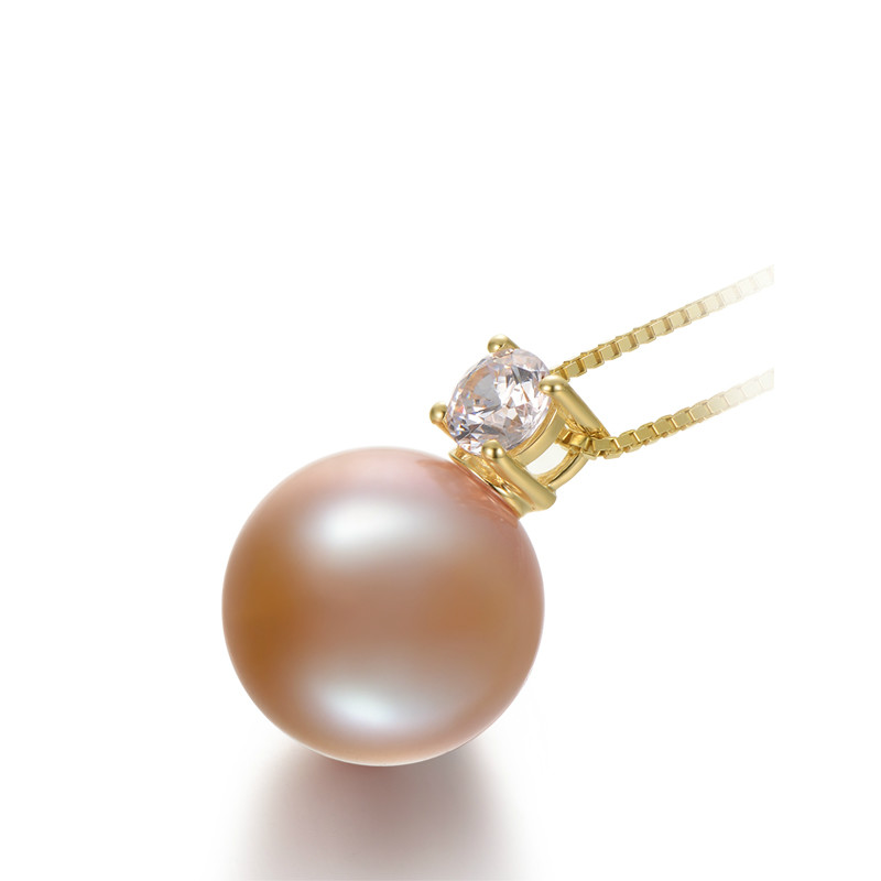 Perle d'eau douce pendentif Edison perle argent perle pendentif unique rose rond 13-14mm bijoux naturels pour copines cadeau