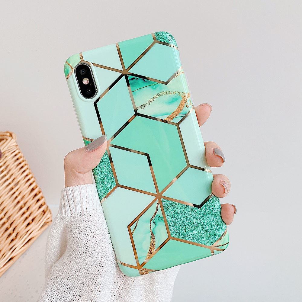 LOVECOM Geometric Marble Phone Cases For iPhone 11 Pro Max XR XS Max 6 6S 7 8 Plus X Soft IMD Electroplated Back Cover Coque 6