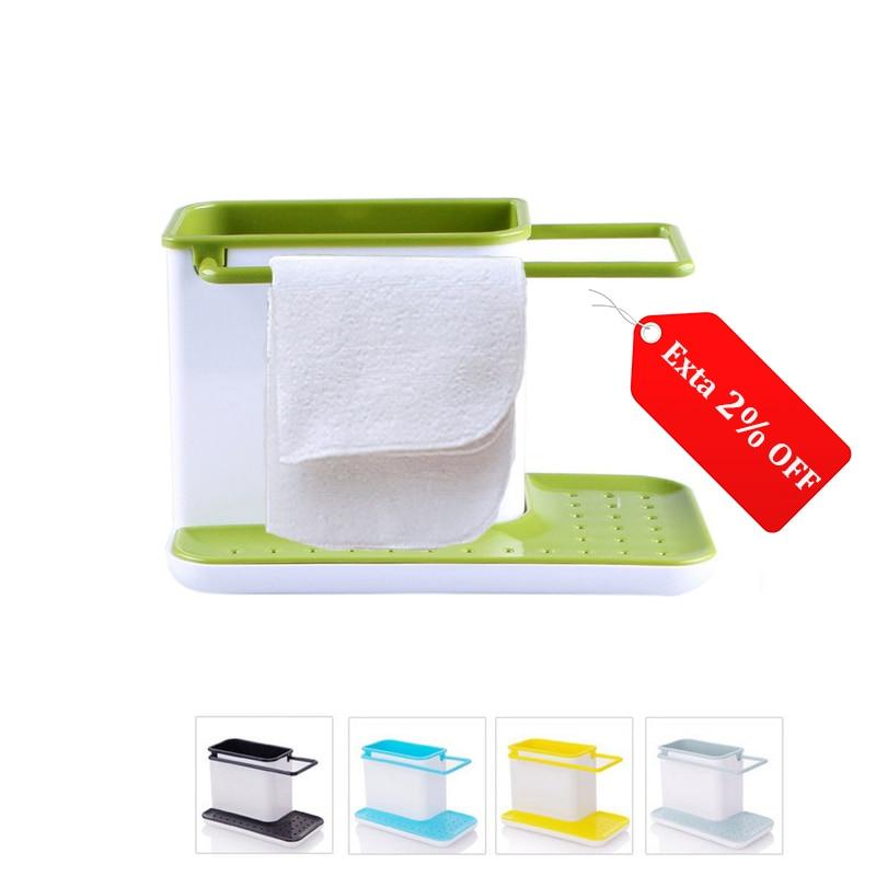 Storage Shelf Sponge Holder Draining Sink Box Kitchen Organizer Draining Rack Dish Storage Rack Stands Tidy Utensils Towel Rack 1