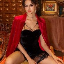 Costas do vintage roupa de dormir feminino sexy sem peito sling camisola outono inverno das mulheres diabo cosplay lingerie