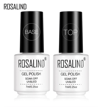 Rosalind 7ML zestaw wierzch i warstwa podstawowa żelowy lakier do paznokci z długotrwałym błyszczącym uszczelnieniem Manicure Soak off Top Base Nail Primer tanie i dobre opinie Wielofunkcyjny top lakier bazowy Resin RC00 1pcs LED or UV Lamp SGS MSDS protect nail surface
