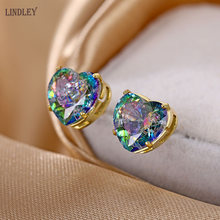 LINDLEY 2020 new special offer 585 rose gold earrings earrings burst ice oval love zircon earrings men and women jewelry gifts(China)