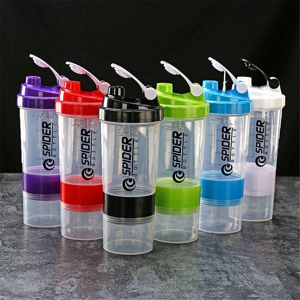 500ml sporcu shakerı şişe yaratıcı Protein tozu karıştırma şişesi spor spor Shaker taşınabilir plastik Botella Mezclador Protein