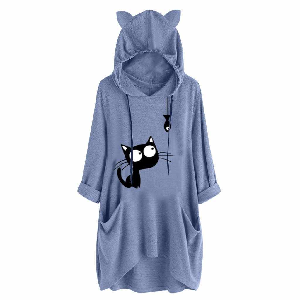 Sólido para mujer manga larga con capucha Sudadera Con Capucha Jersey de oreja de gato Prendas para el torso Blusa