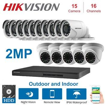 2MP HIKVISION 16 canales DVR grabadora de Video vigilancia híbrida con 2MP Domo interior y cámaras de seguridad bala al aire libre KITS