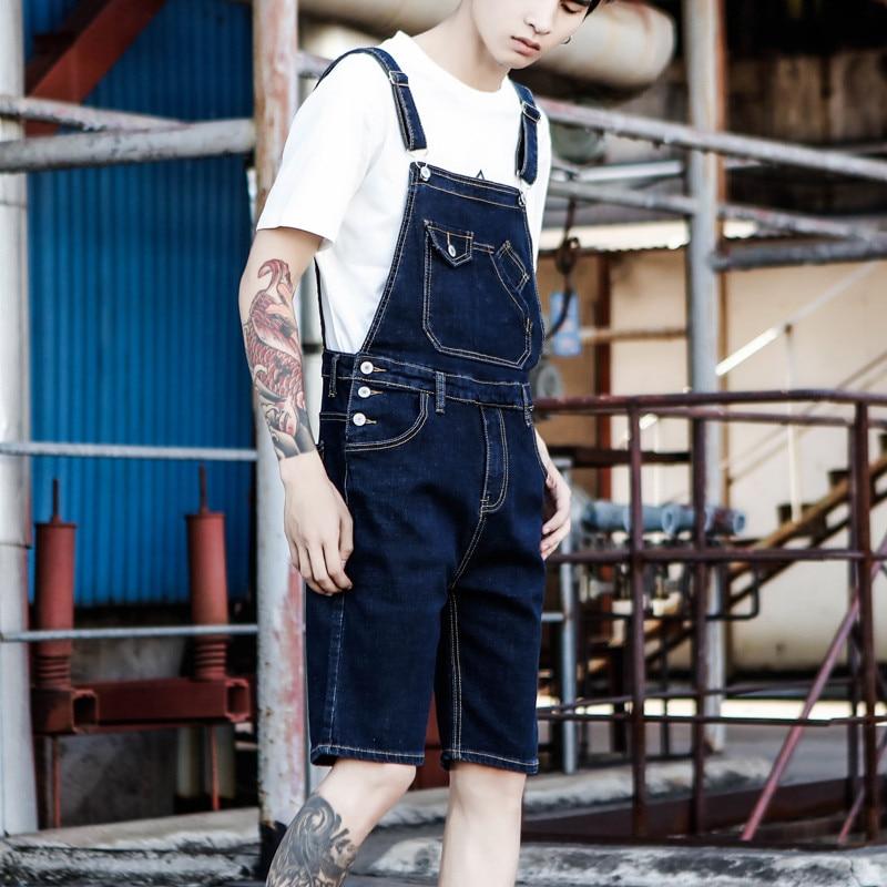 Denim Shorts Men 2019 New Japanese Denim Overalls Shorts Male Summer Hole Denim Bib Korean Suspenders Size S-5XL