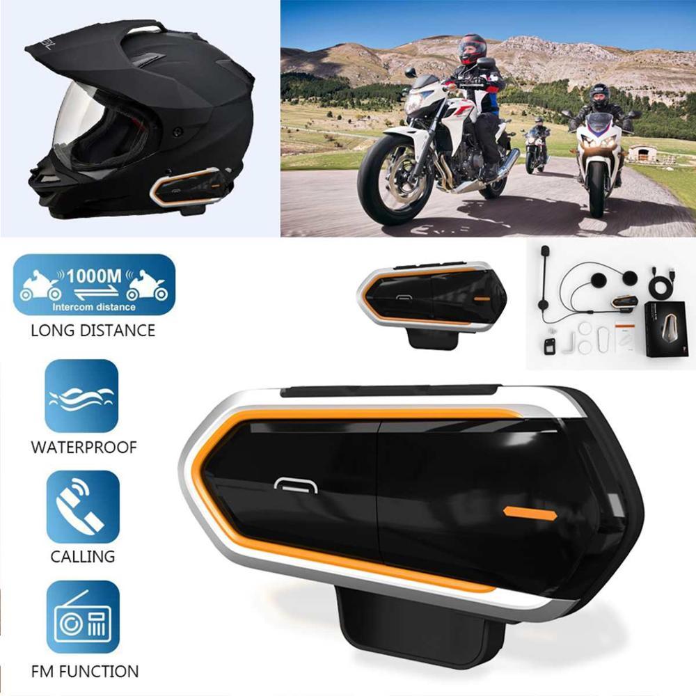 QTBE6 Motorcycle Helmet Bluetooth Headset Intercom Handsfree Waterproof FM Radio Motobike Intercomunicador Wireless Interphone