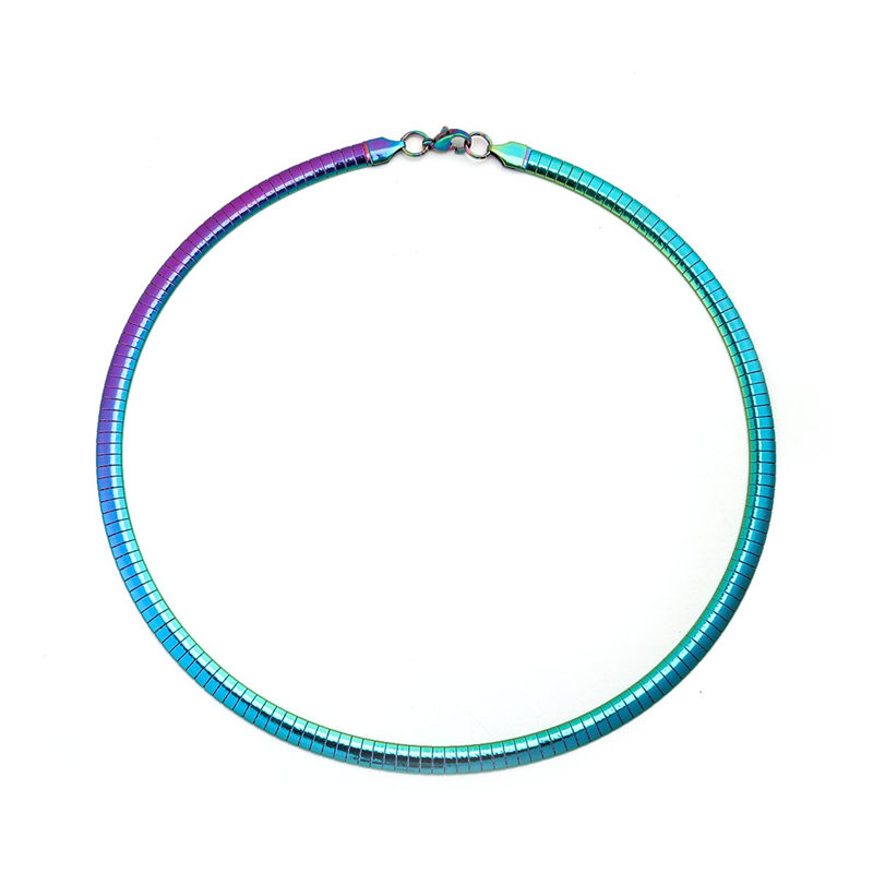 New 304 Stainless Steel Collar Neck Necklace Multicolor Round Plating Neckalces Jewelry Women Men 45cm(17 6/8